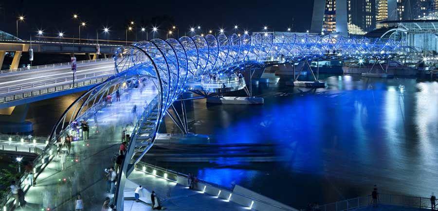 The DNA shaped Helix bridge, Singapore
