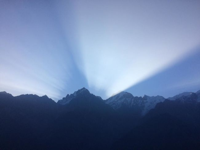 Sunrise at Kalpa Kinner Kailash Range