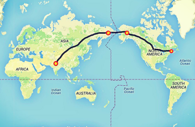 World Map Bering Strait.Delhi To New York By Road Delhi India To New York Road Trip Will Be