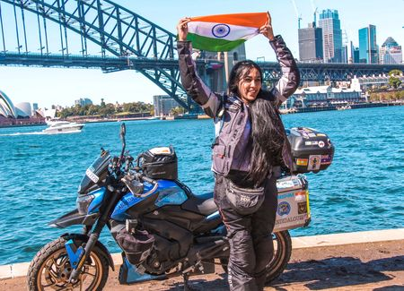 Image result for Candida, Solo biker drove from Bangalore to Sydney