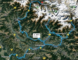 Information on rivers, mountains, glaciers and places of Garhwal