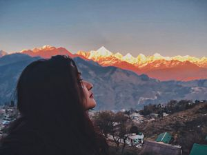 Selfie with the Panchachuli peaks! The perfect sunset. #SelfieWithAView #TripotoCommunity