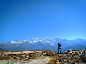 Peaceful and stunning view from Mountain-top, Dayara Bugyal trek, village-Barsu, uttarkashi