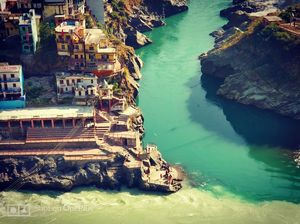 Devprayag - the confluence of Alaknanda and Bhagirathi to create Mighty Ganges