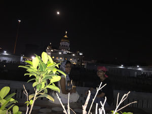 A night view of Gurudwara Bangla Sahib.