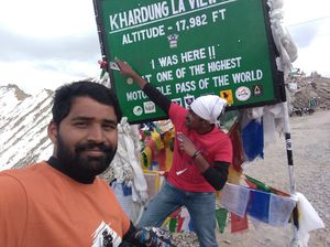 On top of the world's highest motorable road. Mighty Khardungla #SelfieWithAView #TripotoCommunity