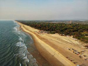Parasailing shot, view of Mobor Beach.