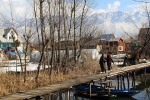 Winter life in Dal Lake Srinagar Kashmir