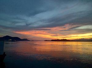 Guwahati trip : sunset from umananada bank of brahamaputra river