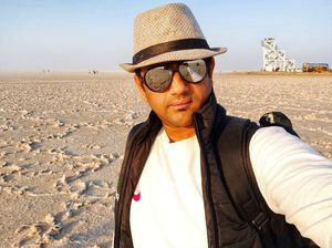 A view of me enjoying the view of the white sands at Rann Of KUtch!! #SelfieWithAView and #TripotoCo