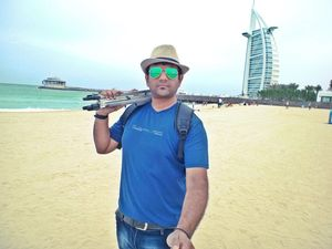 The beach next to Burj Al Arab #SelfieWithAView #TripotoCommunity