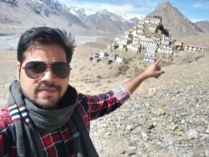 #SelfieWithAView #TripotoCommunity   Key monastery .. oct 2018 .. altitude 4100m and temp 7 degree