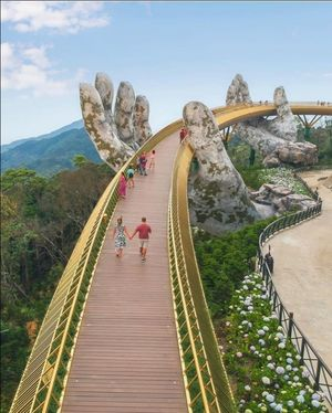 Golden bridge in ba na hills vietnam