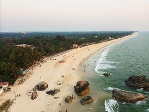 Aerial view of Kaup beach from lighthouse!