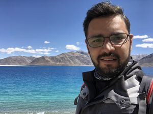 Pangong lake. The cleanest and saltiest lake water you can get. #SelfieWithAView #TripotoCommunity