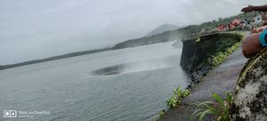 Dam situated in middle of the nature