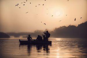 #yamuna #ghat#river#birds#boat#sunrise#freedom