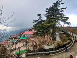 view of mall road and shimla city