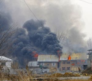 At least 4 houses were burntdown by the indian forces in indian Occupied Kashmir.