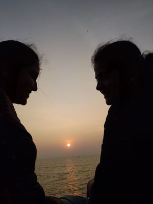 Friend by the side, conversation at beach side, sunset view. #SelfieWithAView #TripotoCommunity