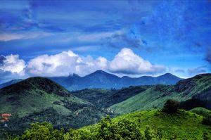 Mountain;sky;meadows