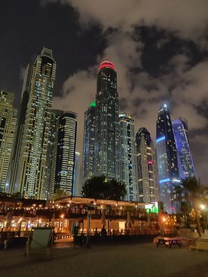 Nightlife in Dubai admist skyscrapers ....