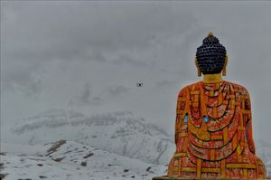 Buddha Statue In The Mighty Himalayas