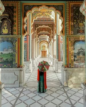 Jaipur , color full day,  With colored  city and thinks