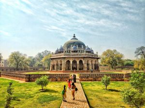 Isa Khan's garden tomb - a sunken garden in India - attached to a tomb.