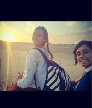 With sunset view on camel surrounded by sand - love #SelfieWithAView#TripotoCommunity