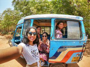 Blue, cute auto-rickshaws at Auroville, Pondicherry. #SelfieWithAView #TripotoCommunity