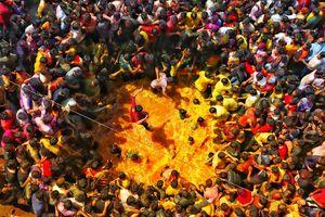 Traditional Holi festival in Nashik city.. flashing colors..