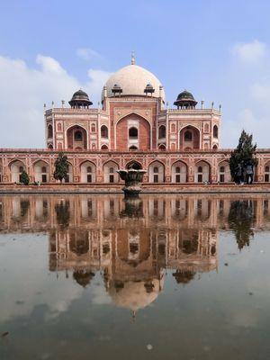 Humayun's Tomb reflection on water, New Delhi, india. Photo by AJAY KUMAR