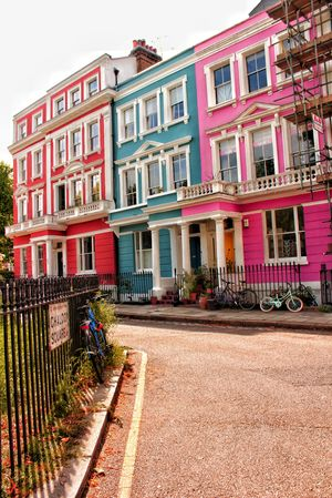 Colourful buildings in London suburbs