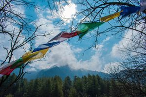 Wind gushes through the prayer flags