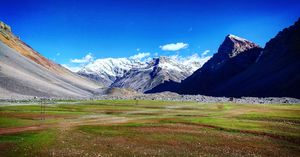 These mesmerizing grass lands with the view of snow capped mountains #colourgreen