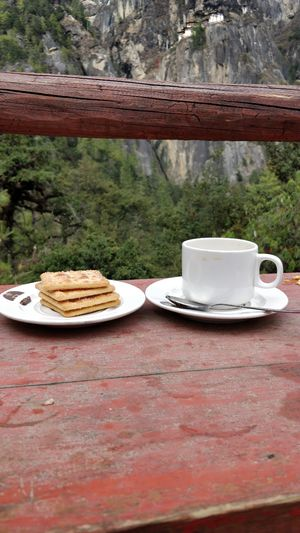 Chai at mountain.. viewing mighty majestic Tiger's Nest.