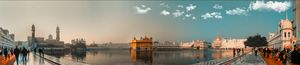 wide view of the Golden temple Darbar sahib
