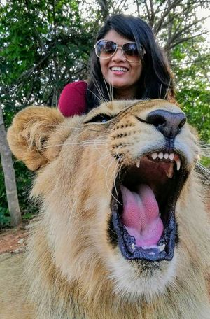 #SelfieWithAView #Tripotocommunity. Selfie with a jungle king at lion walk in Zambia.