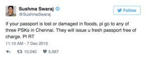Passport Lost In #ChennaiFloods To Be Replaced For Free: Sushma Swaraj