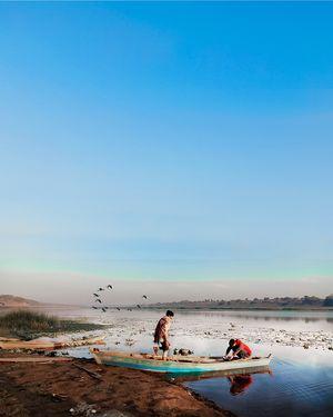 A charming morning  beside shore of narmada Devi. #colourblue #triptocommunity