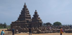 Shore temple and tiger caves at mahabalipuram.. an art of 7th century