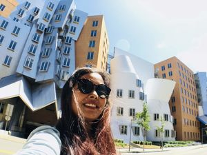 Selfie with this beautiful piece of art by Frank Gehry in MIT.  #SelfieWithAView #TripotoCommunity