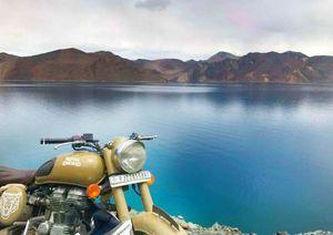 Pangong lake leh ladhak with  dhanno:-( bullet)