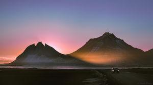 Winter sun through the Vestrahorn aka Batman mountain. #BestTravelPictures @tripotocommunity