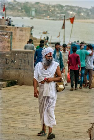 Sant on the ganga ghat