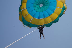 Free like a bird, flying high up in the air - Parasailing at Tarkali Beach