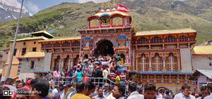 Badrinath temple in the lap of nature at the bank of alaknanda river