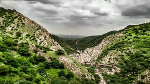 A view of Aravali Mountain range from