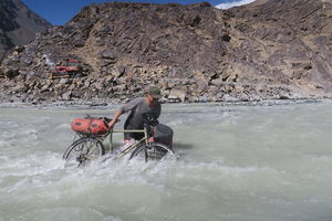 Crossing a river in Bartang valley in Tajikistan. This was the scariest one I have ever done!